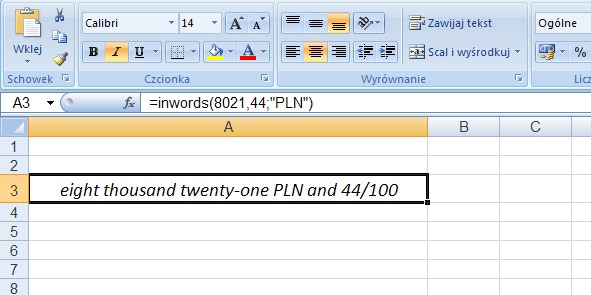 Example 1 - the amount in words in English - a formula in Excel