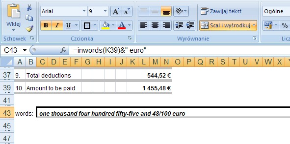 Example 2 - the amount in words in English - a function in Excel