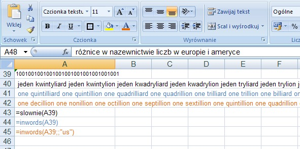 Exaple 5 - the amount in words in English - Excel function